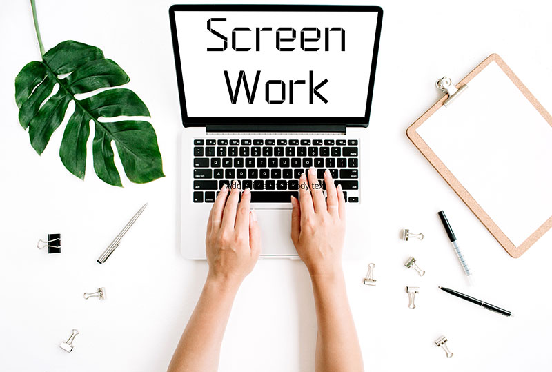 laptop screen showing screen work